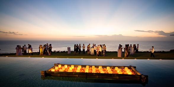 sunset at a Bali luxury villa w